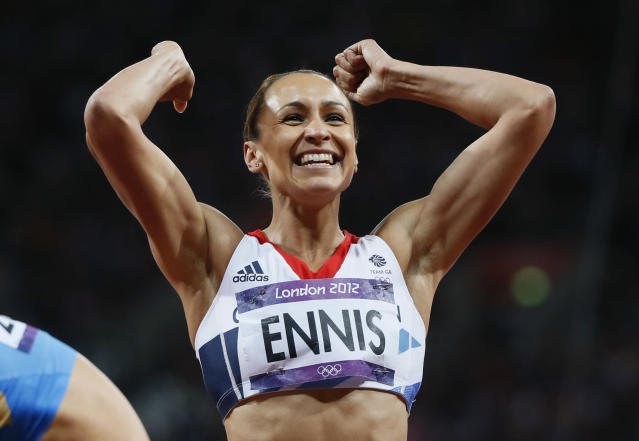 Britain's Jessica Ennis celebrates finishing second in the women's heptathlon 200m heat 5 at the London 2012 Olympic Games at the Olympic Stadium August 3, 2012. REUTERS/Lucy Nicholson (BRITAIN - Tags: OLYMPICS SPORT ATHLETICS)