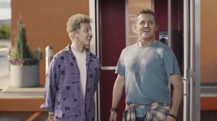 This undated image provided by Walmart shows Alex Winter in a scene from the company's 2020 Super Bowl NFL football spot. (Walmart via AP)