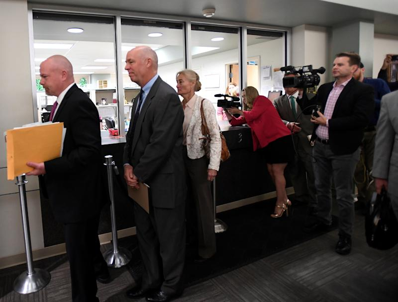 Rep. Greg Gianforte (R-Mont.) appears in court to face a charge of misdemeanor assault after he was accused of attacking a reporter on the eve of his election, in Bozeman, Montana, U.S., June 12, 2017. (Tommy Martino / Reuters)