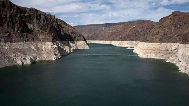 PHOTO: Low water levels due to drought are seen in the Hoover Dam reservoir of Lake Mead near Las Vegas, June 9, 2021. (Bridget Bennet/Reuters)