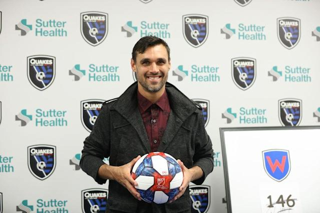 "<a class=""link rapid-noclick-resp"" href=""/soccer/players/372809/"" data-ylk=""slk:SAN JOSE"">SAN JOSE</a>, CA – MAY 18: Chris Wondolowski #8 of the San Jose Earthquakes holds the ball that he scored his 146th career goal with during a press conference after a Major League Soccer (MLS) match between the San Jose Earthquakes and the Chicago Fire on May 18, 2019 at Avaya Stadium in San Jose, California. (Photo by Maciek Gudrymowicz/isiphotos/Getty Images)"