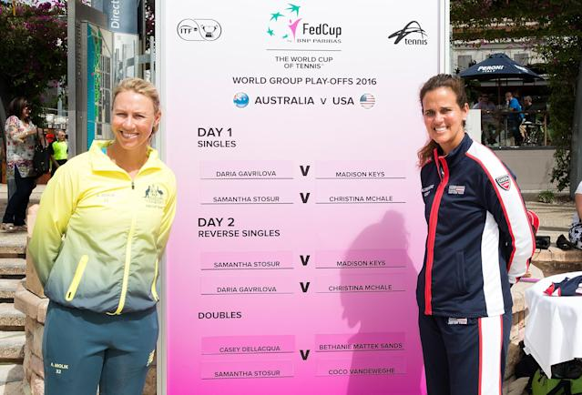 BRISBANE, QUEENSLAND - APRIL 15: Fed Cup Captains Alicia Molik and Mary Joe Fernandez pose for a photo during the official draw for the Fed Cup tie between Australia and the United States at Southbank on April 15, 2016 in Brisbane, Australia. (Photo by Bradley Kanaris/Getty Images)