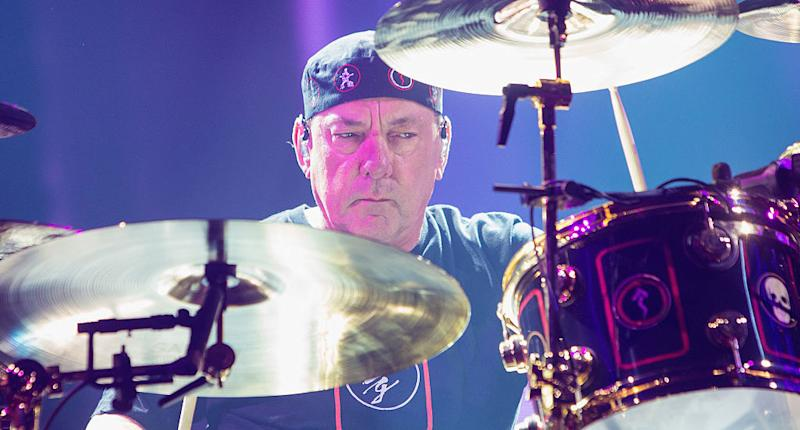 Neil Peart of Rush performs on stage during the R40 LIVE Tour at KeyArena on July 19, 2015 in Seattle, Washington. (Photo by Mat Hayward/Getty Images)