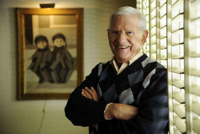 "In this Wednesday, Feb. 26, 2014 photo, actor, artist and singer Robert Clary poses for a portrait in his home studio in Beverly Hills, Calif. Clary, who starred in the sitcom ""Hogan's Heroes,"" turns 88 on Saturday, March 1, 2014. (Photo by Chris Pizzello/Invision/AP)"