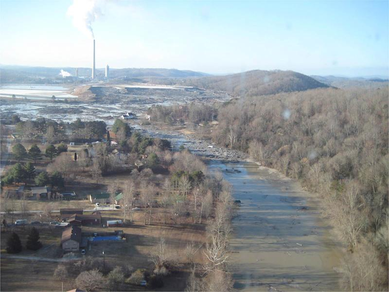 FILE - This file handout photo provided by the Tennessee Valley Authority shows the massive ash spill at the Kingston Fossil Plant in Kingston, Tenn., on Dec. 23, 2008, the day following the spill. The spill is considered one of the nation's worst environmental disasters and the incident drew national attention to coal ash and its ominous-sounding ingredients. But two years after the agency proposed regulating coal ash as hazardous and placing restrictions on its disposal, the the U.S. Environmental Protection Agency has issued no ruling.   (AP Photo/TVA, File)