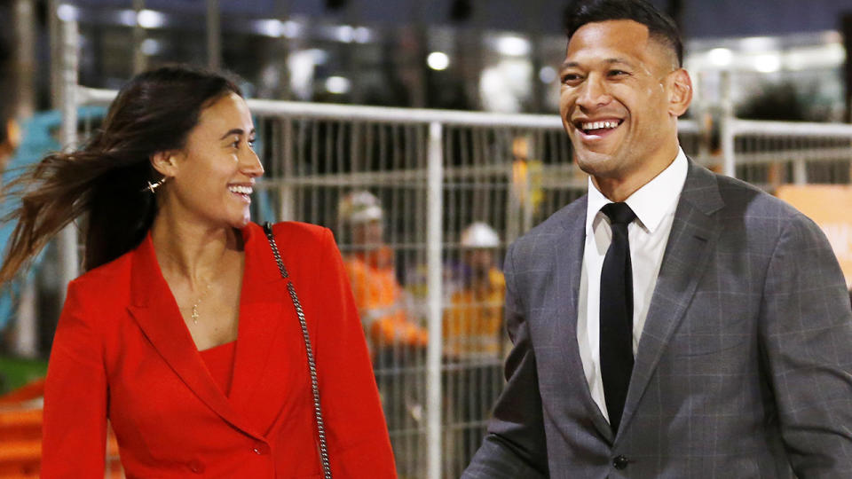 Maria and Israel Folau, pictured here leaving Federal Court after a meeting with Rugby Australia in 2019.