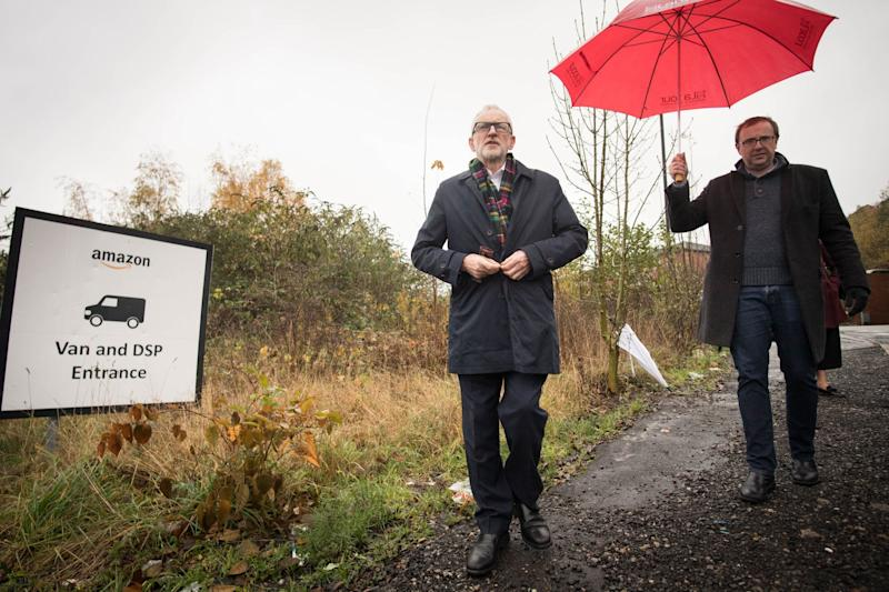 Labour Party leader Jeremy Corbyn outside an Amazon depot in Sheffield, made his position on Brexit clearer in a debate on Friday: PA