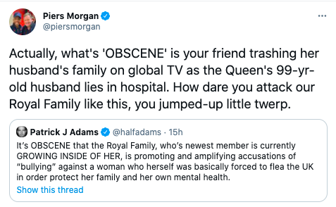 Piers Morgan angrily responded to Patrick J Adams' defence of Meghan MarkleTwitter