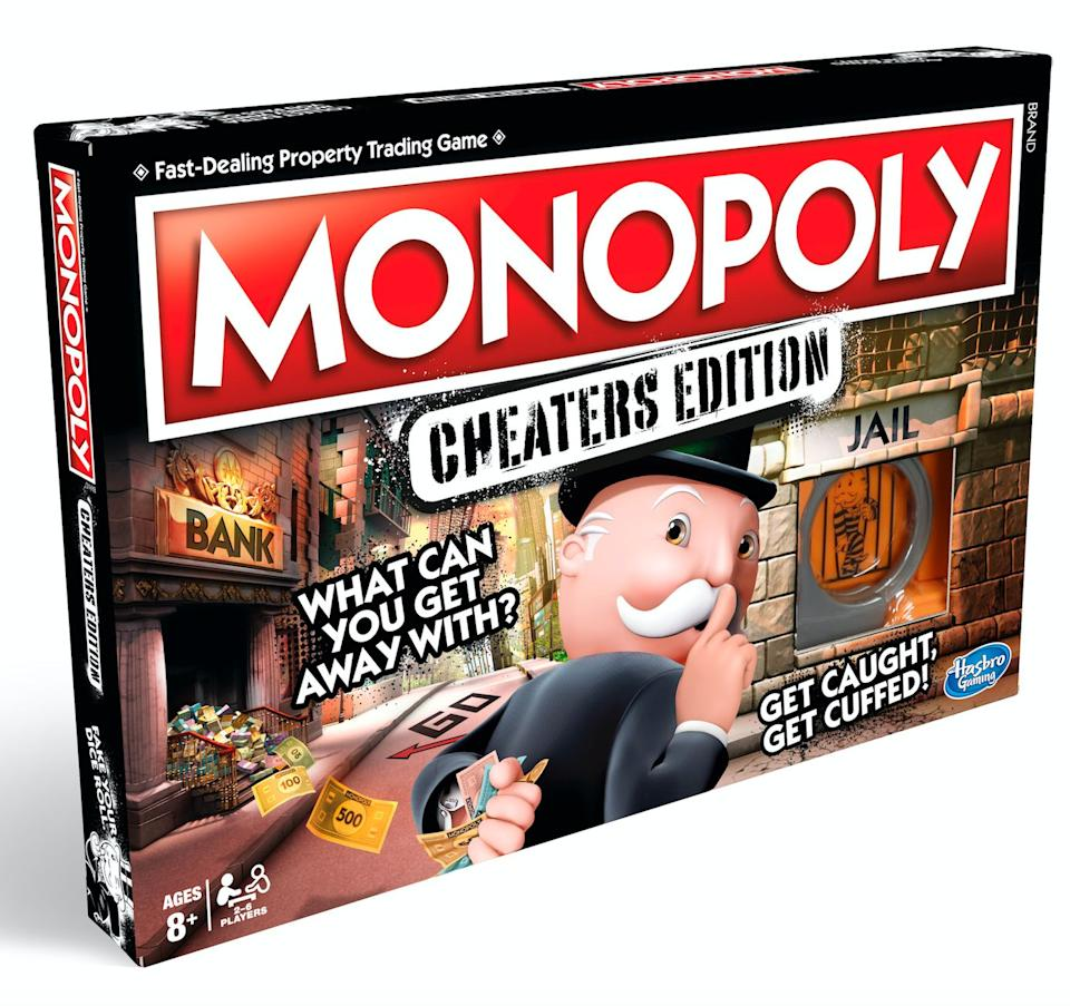 """Everyone cheats in Monopoly, right? In this edition, rules are bent, money is stolen and funny business is welcomed. You can also get an exclusive Hamleys edition of Monopoly this year, which takes you on a trip around their seven floors.<br />Price: £22<br />Ages: 8+<br /><a href=""""http://hamleys.com/ProductListings.irs?tag=Monopoly"""" target=""""_blank"""" rel=""""noopener noreferrer"""">Click here to buy</a>."""