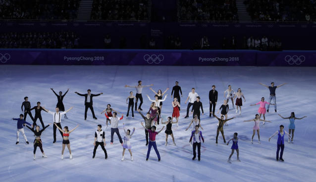 Skaters perform during the finale at the figure skating exhibition gala in the Gangneung Ice Arena at the 2018 Winter Olympics in Gangneung, South Korea, Sunday, Feb. 25, 2018. (AP Photo/Felipe Dana)