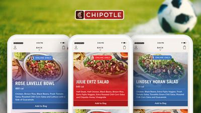 Chipotle Mexican Grill is offering the favorite orders of soccer stars Julie Ertz, Lindsey Horan and Rose Lavelle exclusively online and in the Chipotle app for a limited time.
