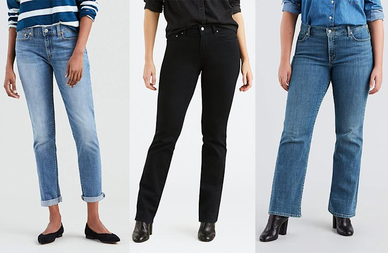 It's time to ditch skinny jeans and scoop up a pair of stylish and comfortable Levi's with a flattering fit. (Photo: Walmart)