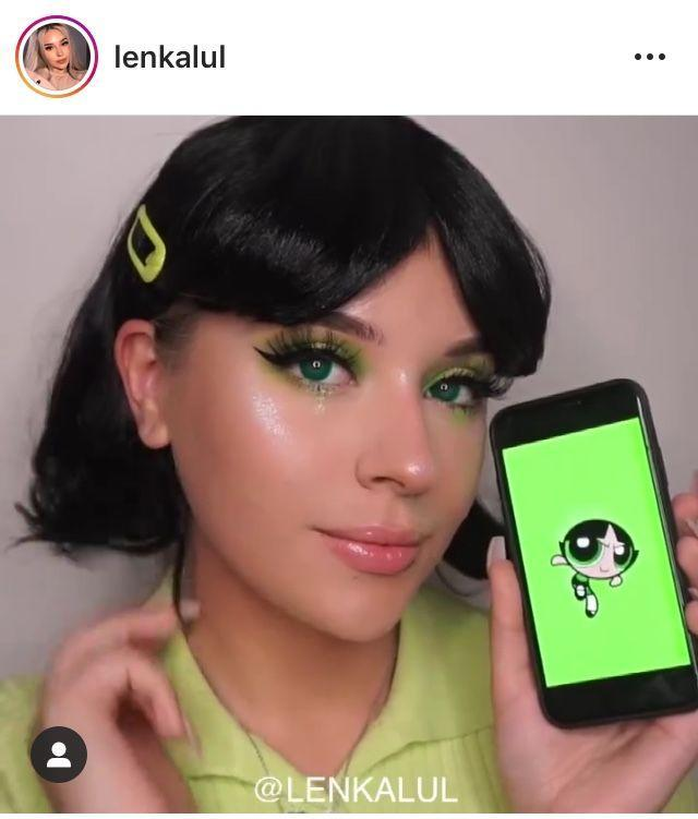 """<p>Take your Buttercup ensemble to the next level with this fun makeup look. The Blossom and Bubbles in your crew can repeat the same steps with pink or blue eyeshadow. </p><p><strong>See more at <a href=""""https://www.instagram.com/lenkalul/"""" rel=""""nofollow noopener"""" target=""""_blank"""" data-ylk=""""slk:@lenkalul"""" class=""""link rapid-noclick-resp"""">@lenkalul</a>.</strong></p><p><a class=""""link rapid-noclick-resp"""" href=""""https://www.amazon.com/Chartreuse-Peacock-Shimmer-Pressed-Eyeshadow/dp/B0813Y9SR7/ref=sr_1_1_sspa?tag=syn-yahoo-20&ascsubtag=%5Bartid%7C10050.g.29344983%5Bsrc%7Cyahoo-us"""" rel=""""nofollow noopener"""" target=""""_blank"""" data-ylk=""""slk:SHOP LIME GREEN EYESHADOW"""">SHOP LIME GREEN EYESHADOW</a> </p>"""