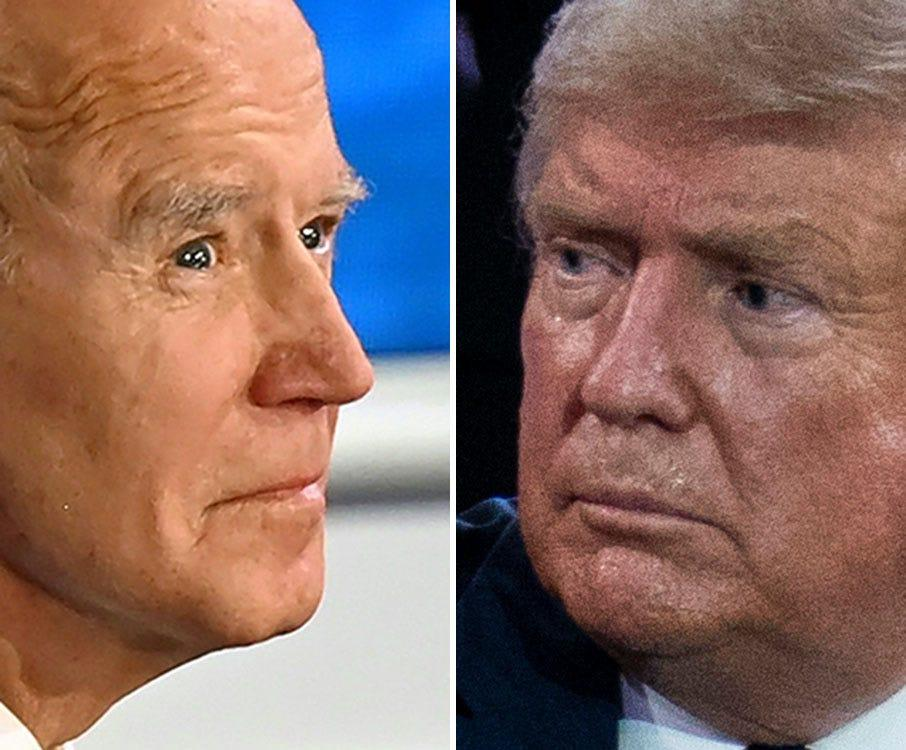 Democratic Presidential candidate and former US Vice President Joe Biden participates in an ABC News town hall event at the National Constitution Center in Philadelphia on October 15, 2020. (Photo by JIM WATSON / AFP) (Photo by JIM WATSON/AFP via Getty Images) ORG XMIT: 0 ORIG FILE ID: AFP_8T82DD.jpg  President Donald Trump waves after participating in an NBC News Town Hall, at Perez Art Museum Miami, Thursday, Oct. 15, 2020, in Miami. (AP Photo/Evan Vucci) ORG XMIT: FLEV150