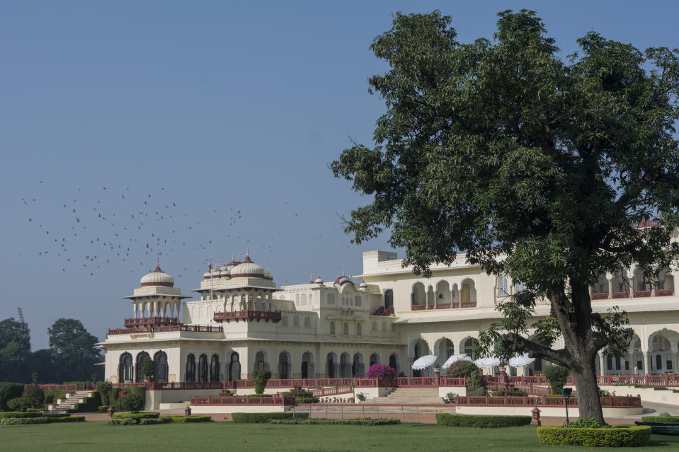 The Rambagh Palace in Jaipur, Rajasthan is the former residence of the Maharaja of Jaipur located 5 miles (8.0 km) outside the walls of the city of Jaipur on Bhawani Singh road.