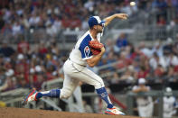 Atlanta Braves' Kyle Muller throws against the Milwaukee Brewers during the fourth inning of a baseball game Saturday, July 31, 2021, in Atlanta. (AP Photo/Hakim Wright Sr.)