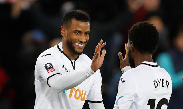 Luciano Narsingh celebrates Swansea's third goal against Notts County with Nathan Dyer, who was on the scoresheet for the first time since 2015.