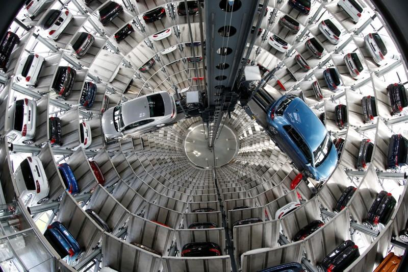 Volkswagen cars are loaded in a delivery tower at the plant of German carmaker in Wolfsburg