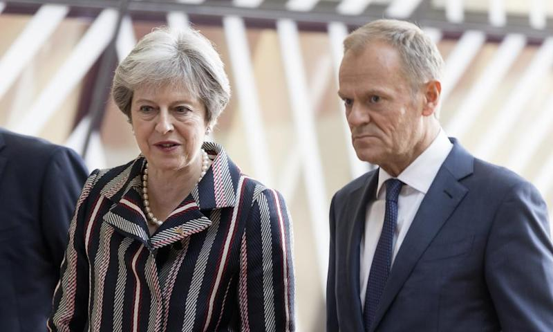 Theresa May with the president of the European council, Donald Tusk.
