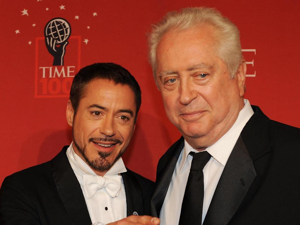 Actor Robert Downey Jr and his father Robert Downey Sr at Time Magazine's 100 Most Influential People in the World dinner on 8 May 2008 in New York (STAN HONDA/AFP via Getty Images)