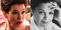 """<p>Renée Zellweger earned her second Oscar for portraying the old Hollywood icon Judy Garland. The actress went through hours of voice lessons to channel Garland's iconic voice and even wore fake teeth. Sometimes, she <a href=""""https://www.vanityfair.com/hollywood/2020/01/renee-zellweger-judy-garland-transformation-hair-makeup"""" rel=""""nofollow noopener"""" target=""""_blank"""" data-ylk=""""slk:would"""" class=""""link rapid-noclick-resp"""">would</a> """"flash them on set before romantic scenes, like Shrek.""""</p>"""