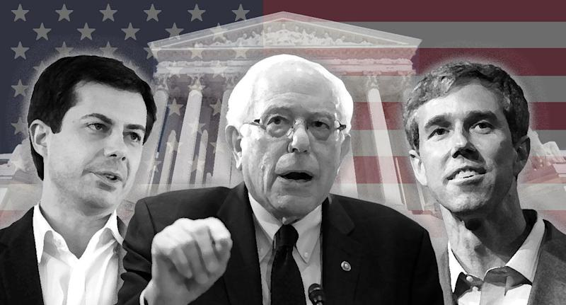 Mayor Pete Buttigieg, Senator Bernie Sanders and Beto O'Rourke. (Photo illustration: Yahoo News; photos: AP (4), Getty Images)