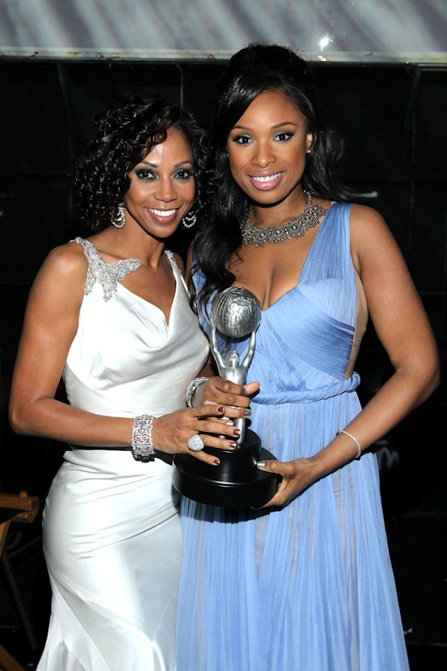 LOS ANGELES, CA - FEBRUARY 17:  Actress Holly Robinson Peete  and Singer Jennifer Hudson, winner of the Outstanding Album award, attend the 43rd NAACP Image Awards held at The Shrine Auditorium on February 17, 2012 in Los Angeles, California.  (Photo by Mark Davis/Getty Images for NAACP Image Awards)