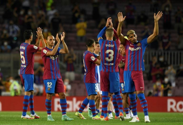 Barcelona players celebrate after beating Real Sociedad last weekend
