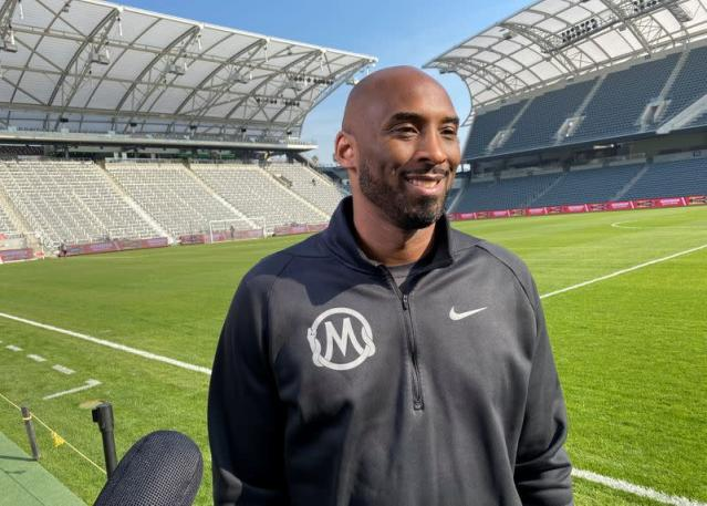Former Los Angeles Lakers guard Kobe Bryant speaks to reporters at Major League Soccer event in Los Angeles