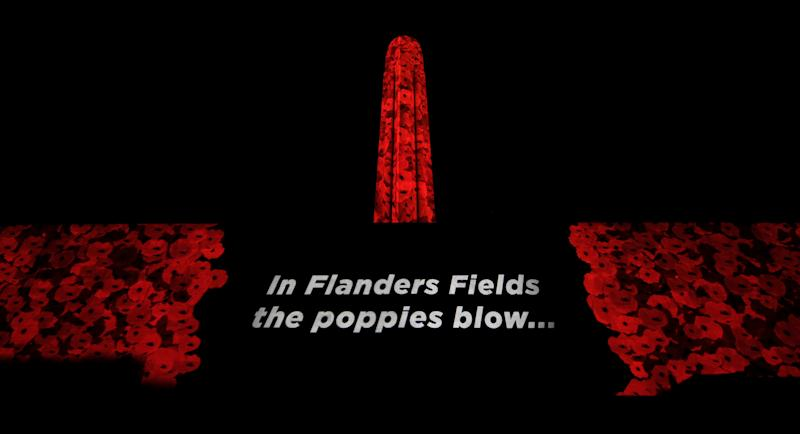 The Liberty Memorial is projected with 5,000 poppies at the National WWI Museum and Memorial in Kansas City, Missouri