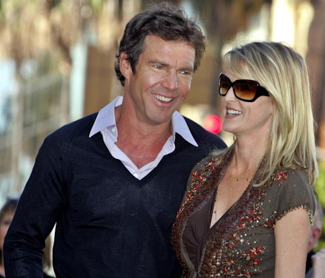 """Actor Dennis Quaid and wife Kimberly stand together before ceremonies honoring Quaid with a star on the Hollywood Walk of Fame in Hollywood November 16, 2005. Quaid stars in the upcoming family comedy film """"Yours, Mine and Ours."""" REUTERS/Fred Prouser"""