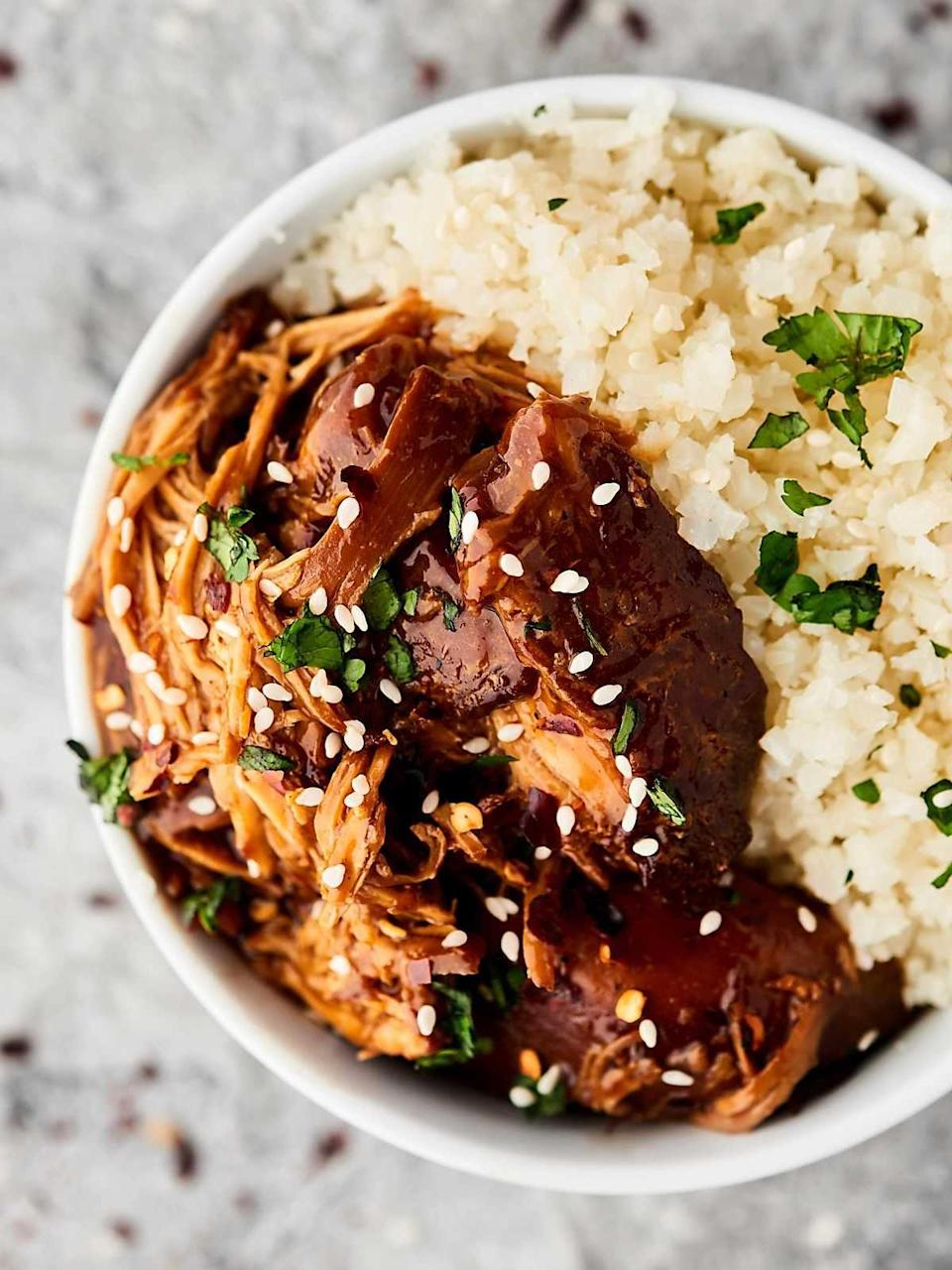 """<p>Make teriyaki chicken in the comfort of your own home when you chef up this delicious dinner. The slow cooker does most of the work, meaning all you have to do is sit back, relax, and enjoy a mouthwatering dinner. Type in the amount of servings you want to make where it says """"yield,"""" so you don't end up with too many leftovers!</p> <p><strong>Get the recipe:</strong> <a href=""""https://showmetheyummy.com/slow-cooker-teriyaki-chicken-recipe/"""" class=""""link rapid-noclick-resp"""" rel=""""nofollow noopener"""" target=""""_blank"""" data-ylk=""""slk:crockpot teriyaki chicken"""">crockpot teriyaki chicken</a></p>"""