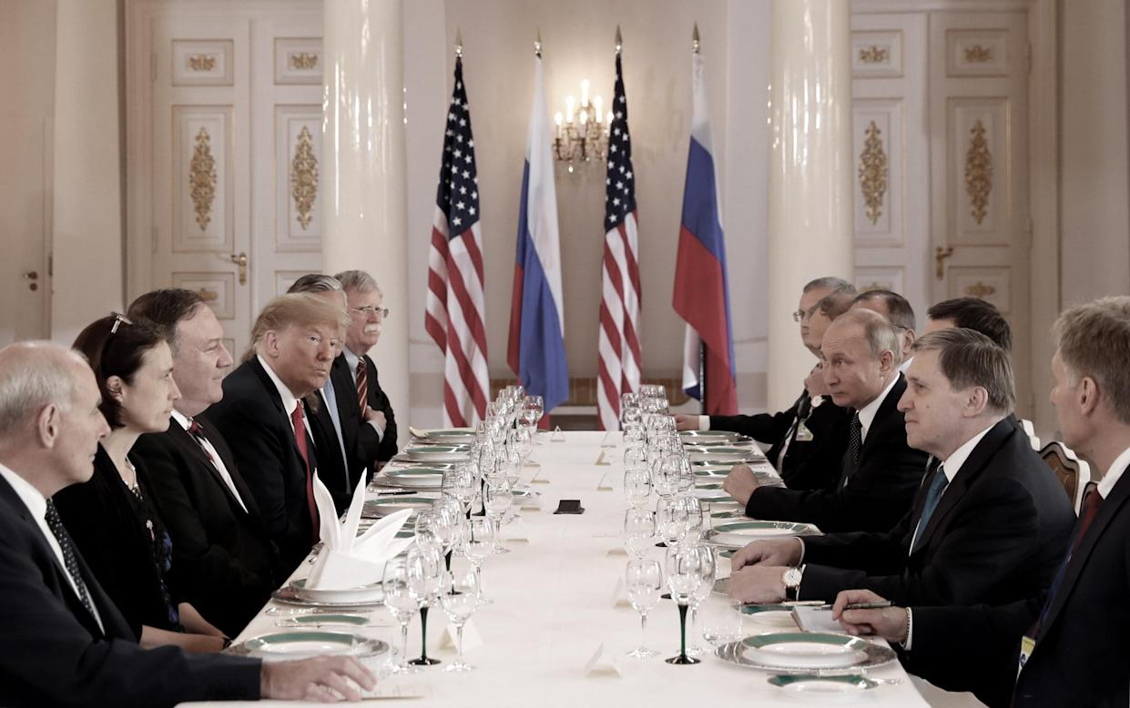 President Trump at a meeting with Putin in Helsinki on July 16, 2018. (Photo: Kevin Lamarque/Reuters)