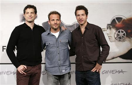 """File photo of directors Alan and Gabe Polsky posing with actor Stephen Dorff during the photocall for the movie """"The Motel Life"""" at the Rome Film Festival"""