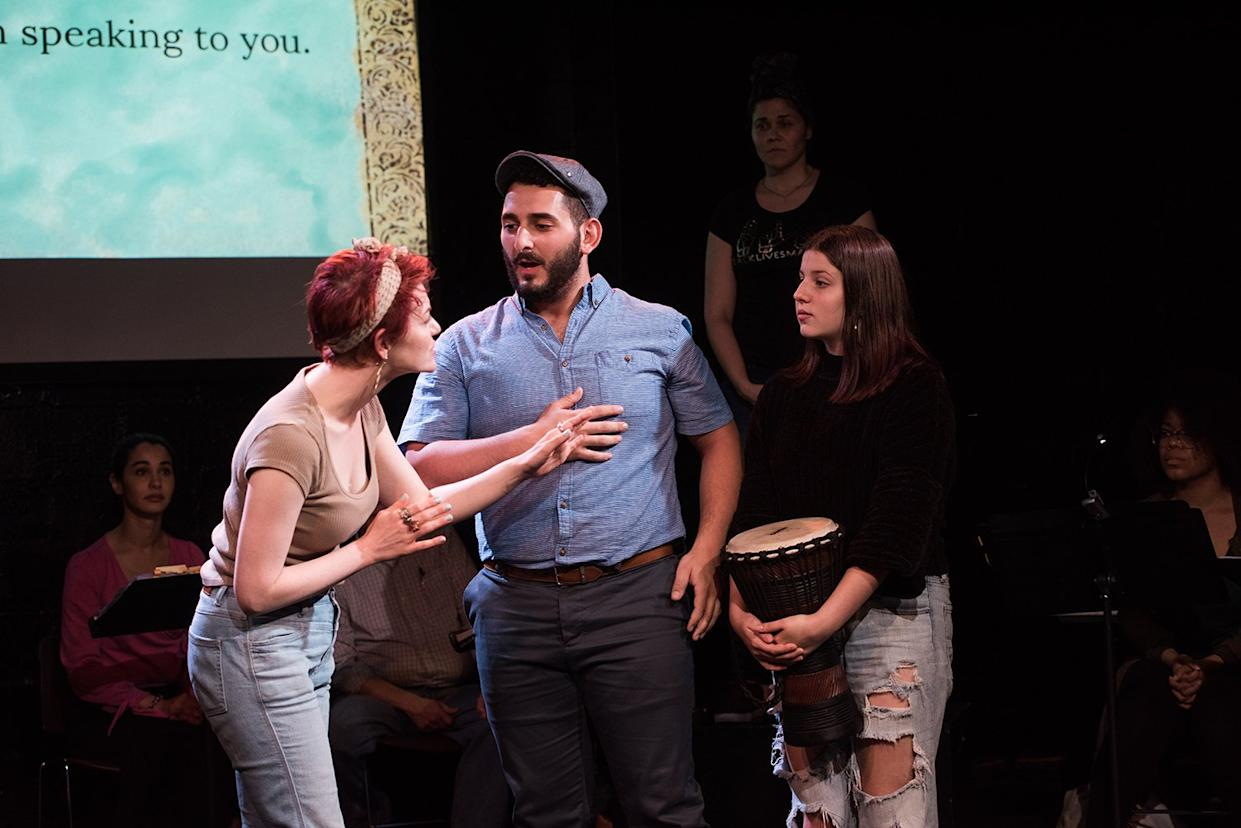 """Christopher Isolano and Catalene Sacchetti-Manganelli in a scene from the musical """"Stepchild"""" at IRT Theater, New York, NY."""