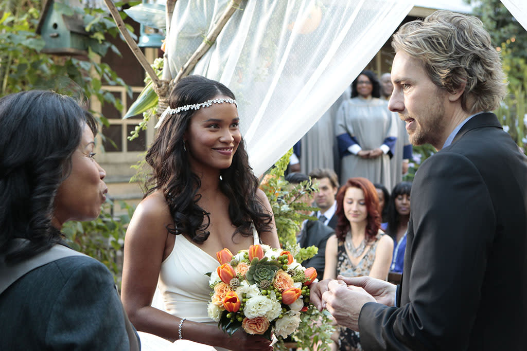 The wedding of Crosby Braverman (Dax Shepard) and Jasmine Trussell (Joy Bryant) on ?Parenthood? (2012).