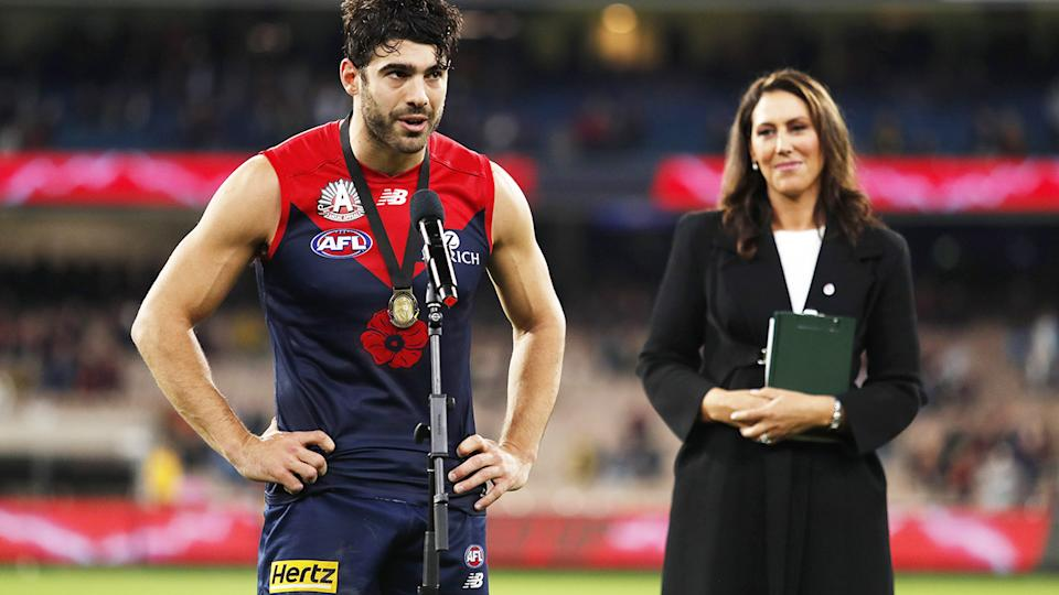 Christian Petracca, pictured here after being awarded the Frank 'Checker' Hughes Medal.