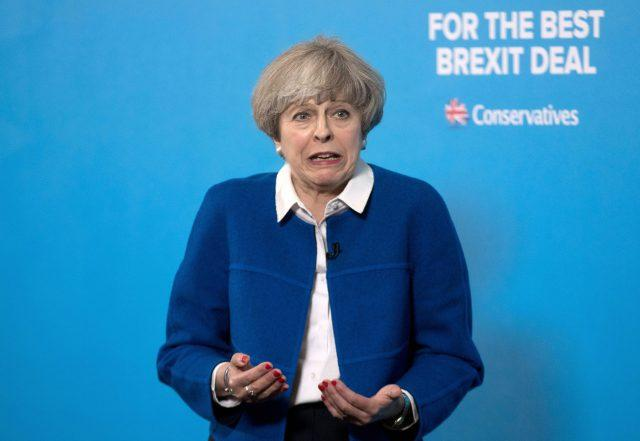 Prime Minister Theresa May speaks during a General Election campaign visit to Wolverhampton (Steve Parsons/PA)