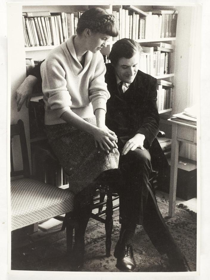 A 1961 portrait of Sylvia Plath and Ted Hughes, taken by David Bailey and inscribed by Plath (PA)
