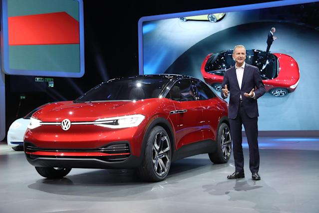 "<p><strong>Volkswagen ID Crozz</strong><br>VW is developing a line of electric vehicles, the ID lineup, and that includes this crossover vehicle. The company has shown the vehicle before, but this one is much closer to what the production model will actually look like. There are some neat features, including rear doors that slide backwards, a panoramic roof shade that can be adjusted via gesture control, and an ""infotainment"" screen in the centre console. Anticipated launch year: 2020. (Photo by Sean Gallup/Getty Images) </p>"