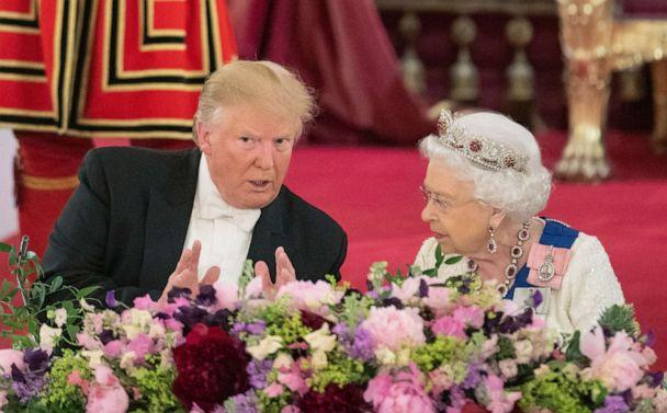 PHOTO: President Donald Trump and Queen Elizabeth attend a State Banquet at Buckingham Palace, June 3, 2019, in London. (Dominic Lipinski/Getty Images)
