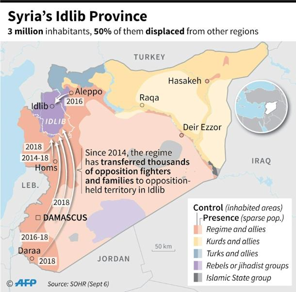 Map of Syria showing populations displaced to Idlib Province by the regime