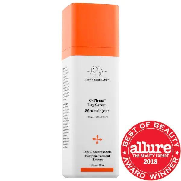 "<p>I have some of my quickest, all-over results with this <a href=""https://www.popsugar.com/buy/Drunk-Elephant-C-Firma-Vitamin-C-Day-Serum-280891?p_name=Drunk%20Elephant%20C-Firma%20Vitamin%20C%20Day%20Serum&retailer=sephora.com&pid=280891&price=80&evar1=bella%3Aus&evar9=47529251&evar98=https%3A%2F%2Fwww.popsugar.com%2Fbeauty%2Fphoto-gallery%2F47529251%2Fimage%2F47529700%2FDrunk-Elephant-C-Firma-Vitamin-C-Day-Serum&list1=sephora%2Cacne%2Cdark%20spots%2Cskin%20care&prop13=api&pdata=1"" class=""link rapid-noclick-resp"" rel=""nofollow noopener"" target=""_blank"" data-ylk=""slk:Drunk Elephant C-Firma Vitamin C Day Serum"">Drunk Elephant C-Firma Vitamin C Day Serum</a> ($80). It has 15-percent l-ascorbic acid plus ferulic acid and vitamin E which fades dark patches and leaves my skin more luminous overall. (I store it in the fridge to make sure it stays potent and apply it in the morning right after I use my <a href=""https://www.popsugar.com/buy?url=http%3A%2F%2Fwww.sephora.com%2Fproduct%2Fice-roller-P441048&p_name=ice%20roller&retailer=sephora.com&evar1=bella%3Aus&evar9=47529251&evar98=https%3A%2F%2Fwww.popsugar.com%2Fbeauty%2Fphoto-gallery%2F47529251%2Fimage%2F47529700%2FDrunk-Elephant-C-Firma-Vitamin-C-Day-Serum&list1=sephora%2Cacne%2Cdark%20spots%2Cskin%20care&prop13=api&pdata=1"" class=""link rapid-noclick-resp"" rel=""nofollow noopener"" target=""_blank"" data-ylk=""slk:ice roller"">ice roller</a> from the freezer.)</p>"
