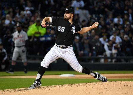 FILE PHOTO: Apr 26, 2019; Chicago, IL, USA; Chicago White Sox starting pitcher Carlos Rodon (55) throws a pitch against the Detroit Tigers during the second inning at Guaranteed Rate Field. Mandatory Credit: Mike DiNovo-USA TODAY Sports