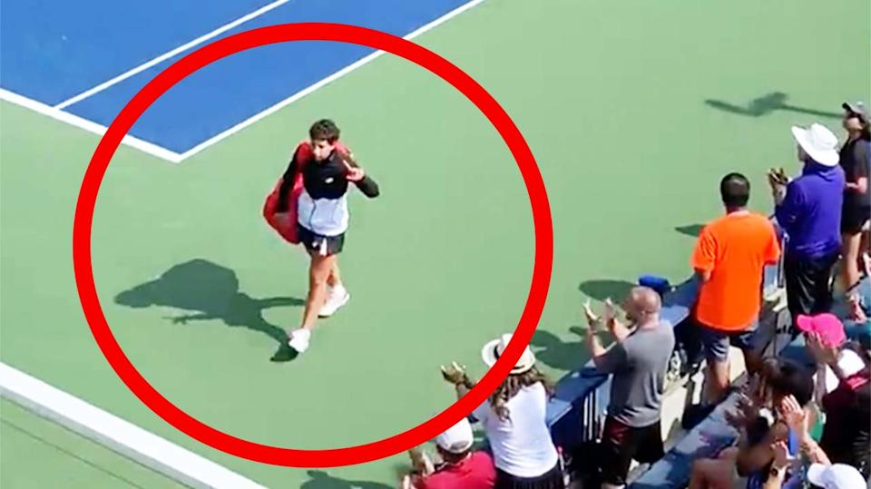 Carla Navarro (pictured) receives a standing ovation as she walks off after losing in the first round of the US Open.
