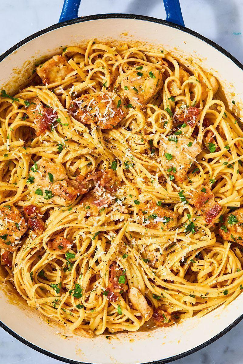 """<p>When you're looking for something comforting and carb-y, nothing fits the bill like a good carbonara. This version adds a bit of protein by way of sautéed chicken breasts, making it the perfect quick and easy weeknight dinner. No fettuccine on hand? Spaghetti, linguine, or capellini would all be great instead. Happy slurping!</p><p>Get the <a href=""""https://www.delish.com/uk/cooking/recipes/a28909109/chicken-carbonara-pasta-recipe/"""" rel=""""nofollow noopener"""" target=""""_blank"""" data-ylk=""""slk:Chicken Carbonara"""" class=""""link rapid-noclick-resp"""">Chicken Carbonara</a> recipe.<br></p>"""