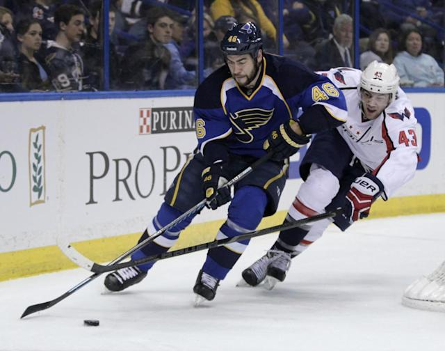Washington Capitals' Tom Wilson (43) tries to poke the puck away from St. Louis Blues' Roman Polak (46) during the first period of an NHL hockey game, Tuesday, April 8, 2014, in St. Louis.(AP Photo/Tom Gannam)