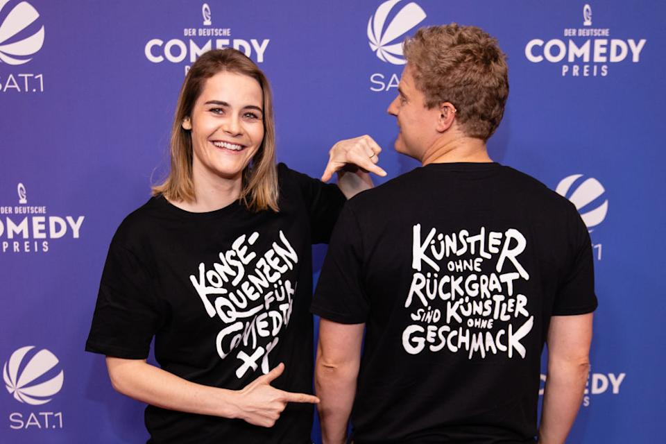 COLOGNE, GERMANY - OCTOBER 01: Hazel Brugger and Thomas Spitzer attends the 25th annual German Comedy Awards (Der Deutsche Comedypreis) on October 01, 2021 in Cologne, Germany. (Photo by Joshua Sammer/Getty Images)