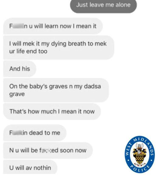 Some of the threatening messages George Coughlan sent to the victim (Picture: SWNS)