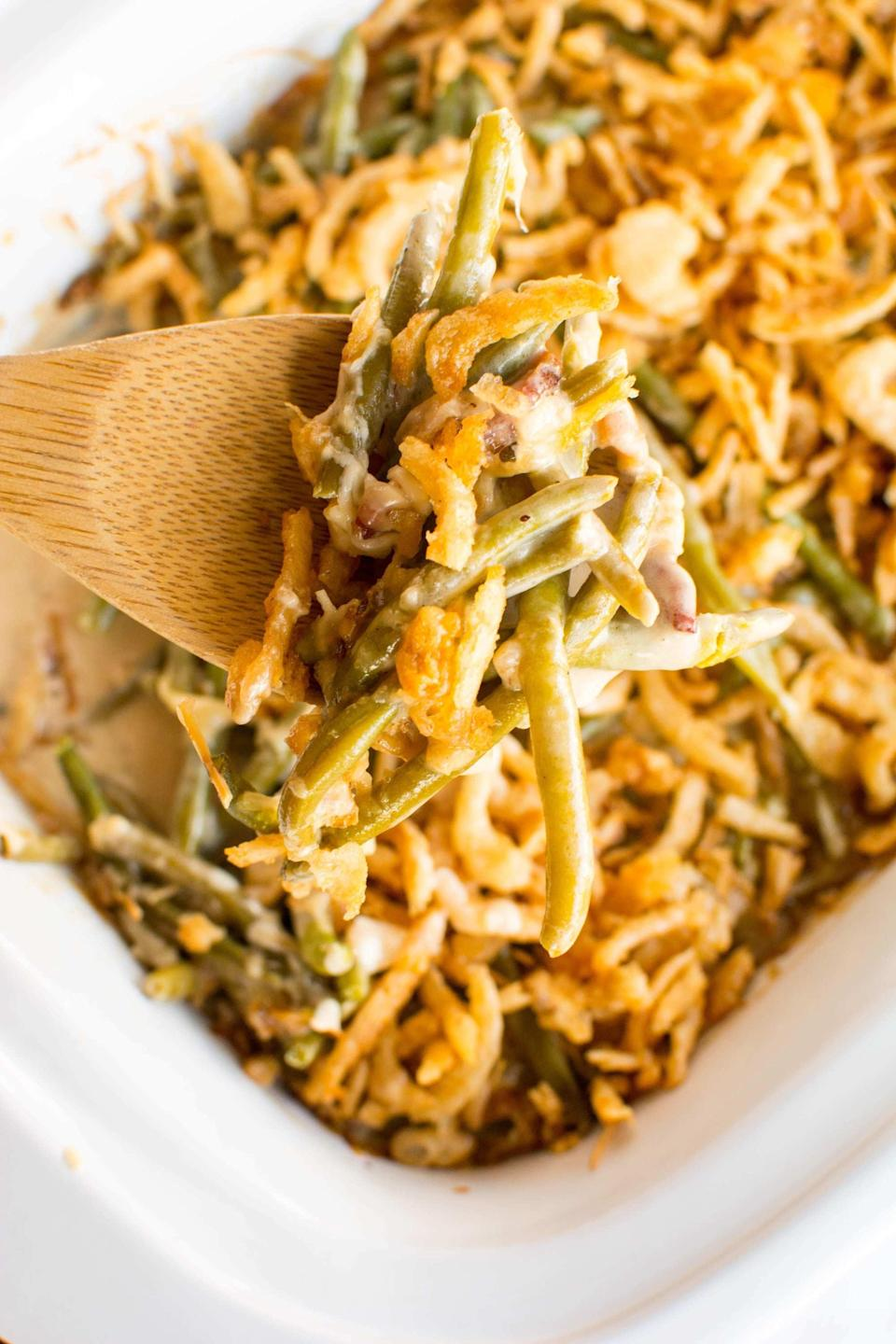 """<p>While you're making the rest of your holiday meal, you won't have to worry about your green bean casserole in your Crock-Pot.</p> <p><b>Get the recipe:</b> <a href=""""https://slowcookergourmet.net/crockpot-green-bean-casserole-win-a-slow-cooker/"""" class=""""link rapid-noclick-resp"""" rel=""""nofollow noopener"""" target=""""_blank"""" data-ylk=""""slk:Crock-Pot green bean casserole"""">Crock-Pot green bean casserole</a></p>"""
